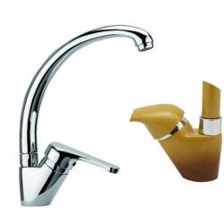 Miscelatore lavello canna girevole per lavatoio o cucina Pegaso Paffoni NT181P finitura terra di francia