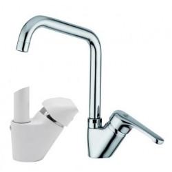Miscelatore lavello a canna alta squadra orientabile per lavatoio o cucina Pegaso Paffoni NT180B colore bianco