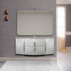 Mobile bagno Sting bianco lucido sospeso 140 cm con specchio lampada retroilluminato led e altoparlante bluetooth