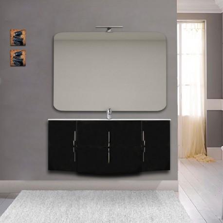 Mobile bagno Sting nero lucido sospeso 140 cm con specchio lampada retroilluminato led e altoparlante bluetooth