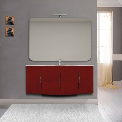 Mobile bagno Sting rosso lucido sospeso 140 cm con specchio lampada retroilluminato led e altoparlante bluetooth