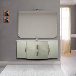 Mobile bagno Sting grigio natura sospeso 140 cm con specchio lampada retroilluminato led e altoparlante bluetooth