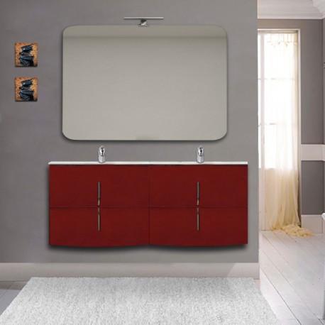 Mobile bagno doppio lavabo Sting rosso lucido sospeso 140 cm con specchio lampada retroilluminato led e altoparlante bluetooth