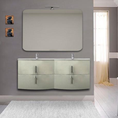 Mobile bagno doppio lavabo Sting Grigio Natura sospeso 140 cm con specchio lampada retroilluminato led e altoparlante bluetooth