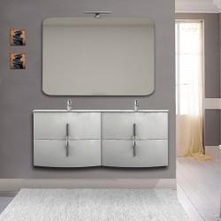 Mobile bagno doppio lavabo Sting Bianco lucido sospeso 140 cm con specchio lampada retroilluminato led e altoparlante bluetooth