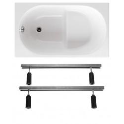 Vasca con Sedile 120x70 da Incasso in Vetroresina completa di supporto telaio per installazione