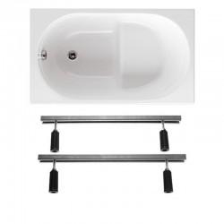 Vasca con Sedile 105x70 cm da Incasso in Vetroresina completa di supporto telaio per installazione
