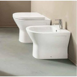 Vaso e Bidet Resort Rimless Rak con Coprivaso in Termoindurente Incluso