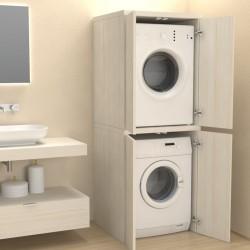 Mobile a Colonna con ante per coprilavatrice / asciugatrice in abete effetto legno