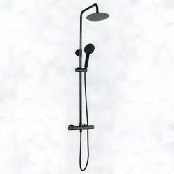 Colonna doccia tonda con miscelatore termostatico in finitura nero opaco