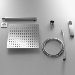 Completo Set Doccia Quadrato con Soffione 25X25 cm + Braccio Doccia + Kit Duplex in acciaio inox Aisi 316 Spazzolato