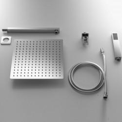 Completo Set Doccia Quadrato con Soffione 30X30 cm + Braccio Doccia + Kit Duplex in acciaio inox Aisi 316 Spazzolato