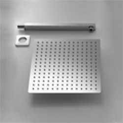 Set Doccia Quadrato con Soffione 25X25 cm + Braccio Doccia in acciaio inox Aisi 316 Spazzolato