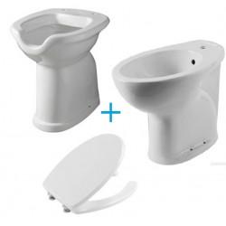 Coppia di sanitari alti 49,5h cm con wc scarico a terra con apertura con sedile e bidet