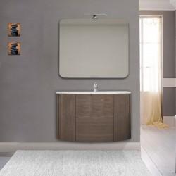 Mobile da bagno Eden 90 cm rovere scuro curvo sospeso + specchio con lampada led + altoparlante bluetooth