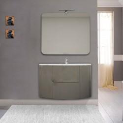 Mobile da bagno Eden 90 cm grigio talpa curvo sospeso + specchio con lampada led + altoparlante bluetooth