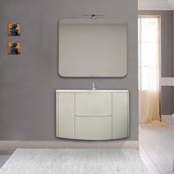 Mobile da bagno Eden 90 cm grigio natura curvo sospeso + specchio con lampada led + altoparlante bluetooth