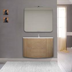 Mobile da bagno Eden 90 cm rovere tabacco curvo sospeso + specchio con lampada led + altoparlante bluetooth