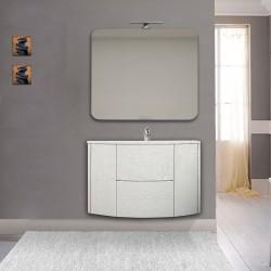 Mobile da bagno Eden 90 cm bianco frassino curvo sospeso + specchio con lampada led + altoparlante bluetooth