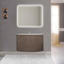 Mobile da bagno Eden 90 cm rovere scuro curvo sospeso + specchio retroilluminato led + altoparlante bluetooth