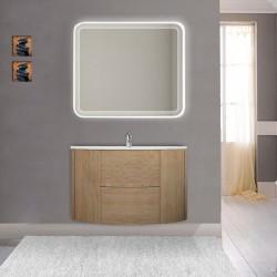 Mobile da bagno Eden 90 cm rovere tabacco curvo sospeso + specchio retroilluminato led + altoparlante bluetooth