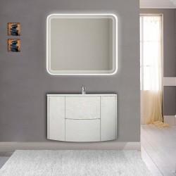 Mobile da bagno Eden 90 cm bianco frassino curvo sospeso + specchio retroilluminato led + altoparlante bluetooth