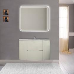 Mobile da bagno Eden 90 cm grigio natura curvo sospeso + specchio retroilluminato led + altoparlante bluetooth