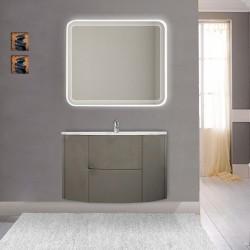 Mobile da bagno Eden 90 cm grigio talpa opaco curvo sospeso + specchio retroilluminato led + altoparlante bluetooth