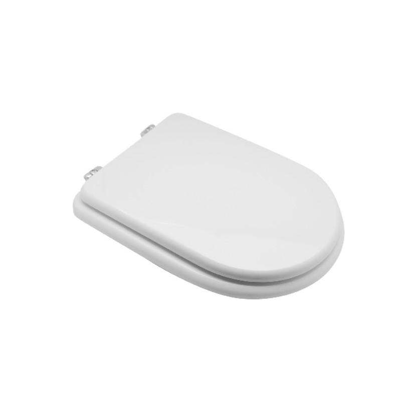 Sedile Wc Bianco Per Cesame Vaso Monoblocco Sintesi Con Cerniere Cromate Regolabili Vendita Online Italiaboxdoccia