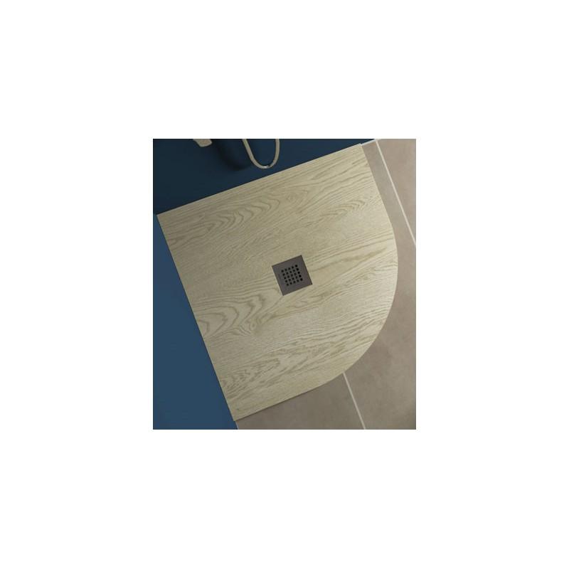 Piatto Doccia in Marmo Resina Effetto Legno Semicircolare 90x90 cm