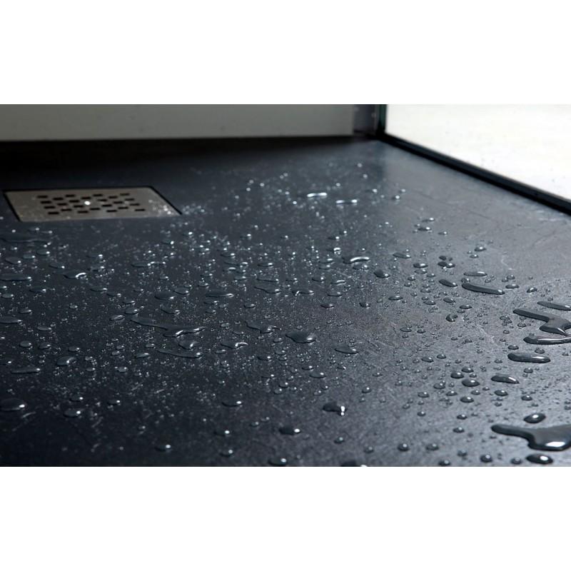 Piatto doccia in marmo resina con bordo effetto legno - Box doccia resina ...