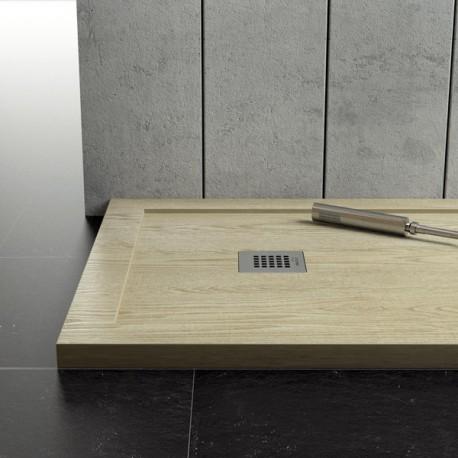 Piatto doccia in marmo resina con bordo effetto legno - Box doccia globo ...