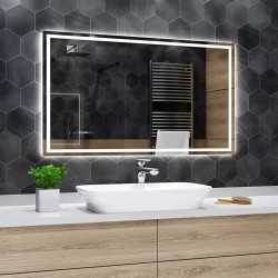 Su Misura Specchio da bagno con Angoli Squadrati e Cornice Sabbiata Retroilluminata led 20W art. spe91