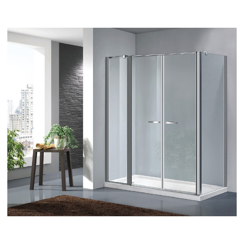 Box doccia a doppia porta a saloon con parete fissa - Porta doccia saloon ...