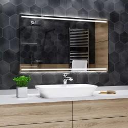 Controluce Led Specchio su Misura per Sala da Bagno Filo Lucido con Doppia Fascia Sabbiata Retroilluminata art. spe44