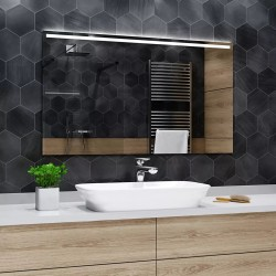 Su Misura Specchio per Sala da Bagno Filo Lucido con Unica Fascia Sabbiata Retroilluminata led 20W art. spe90