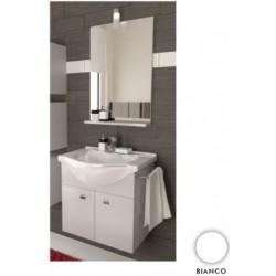 Mobile da bagno Mimosa Salvaspazio da 57 cm bianco con specchio e mensolina