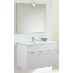 Mobile da bagno Emma Salvaspazio da 62 cm bianco portuna con specchiera con mensola e illuminazione alogena