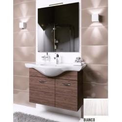 Mobile bagno sospeso Anice da 80 cm bianco frassinato con lavabo, specchio e applique integrata