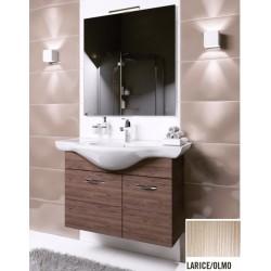 Mobile bagno sospeso Anice da 80 cm con lavabo, specchio e applique integrata in finitura larice/olmo