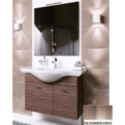 Mobile bagno sospeso Anice da 80 cm con lavabo, specchio e applique integrata in finitura palissandro/larice