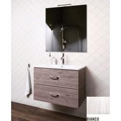 Mobile bagno sospeso Iride da 90 cm con lavabo, specchio e applique integrata in finitura Bianco Frassinato