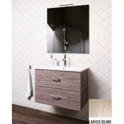 Mobile bagno sospeso Iride da 90 cm con lavabo, specchio e applique integrata in finitura Larice/Olmo