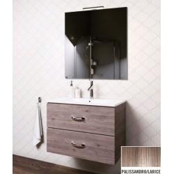 Mobile bagno sospeso Iride da 90 cm con lavabo, specchio e applique integrata in finitura Palissandro/Larice