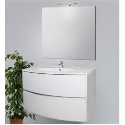 Mobile bagno sospeso Gioia da 90 cm con lavabo, specchio e applique integrata in finitura Bianca