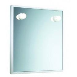 Specchio Decorativo Con Cornice in resina termoplastica bianca L.55xH.45 cm con 2 luci