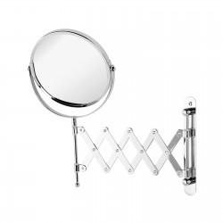 Specchio ingranditore estensibile a parete finitura cromata diametro 15 cm
