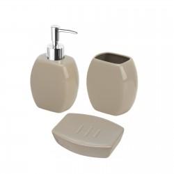 Set d'appoggio 3 pezzi in ceramica color tortora arredo bagno
