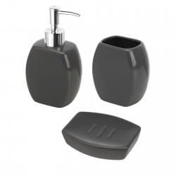 Set d'appoggio 3 pezzi in ceramica grigia dispenser portasapone e bicchiere