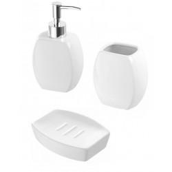 Set d'appoggio 3 pezzi in ceramica bianca dispenser portasapone e bicchiere